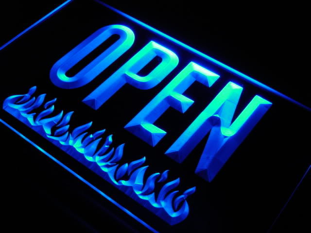 OPEN Grill Bar Beer Pub Fire Neon Light Sign