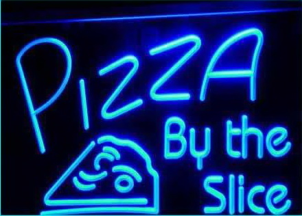 OPEN Pizza By The Slice Cafe Shop Light Sign