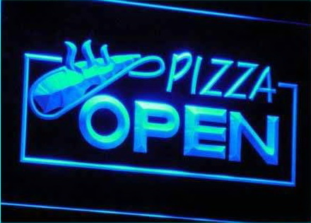 OPEN Pizza Restaurant Displays Neon Light Sign