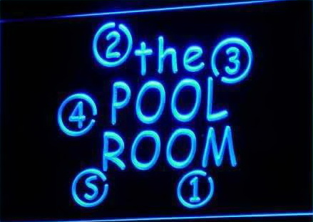 OPEN Pool Room Snooker Bar LED Neon Sign