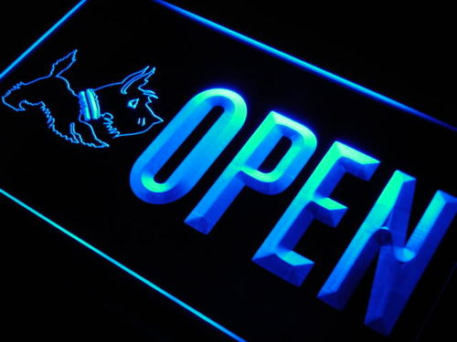 OPEN Scottie Dog Shop Pet Neon Light Sign