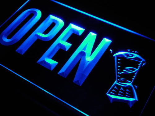 OPEN Smoothies Juice Drink Cafe Neon Light Sign
