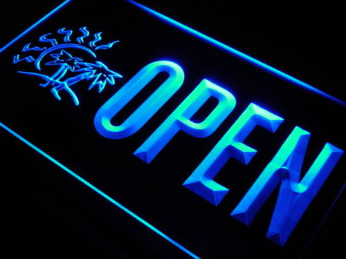 OPEN Tanning Shop Tan Palm Tree Neon Light Sign