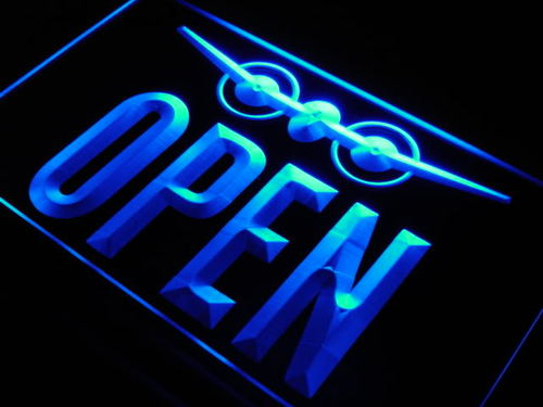 OPEN Travel Agent Aeroplane Shop Neon Light Sign