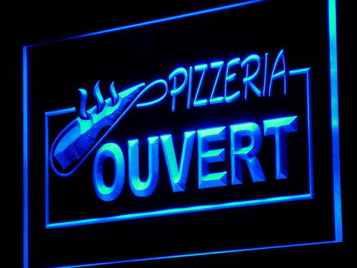 OUVERT OPEN Pizzeria Pizza Cafe Neon Light Sign