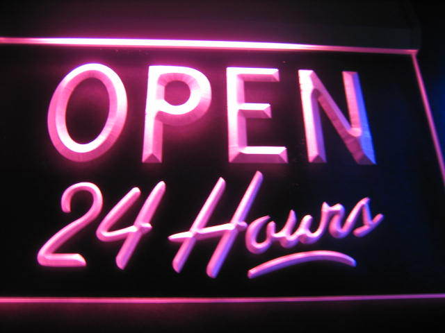 Open 24 Hours Logo Pub Light Sign Neon Red