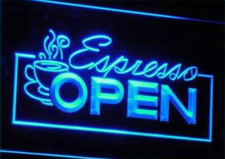 Open Espresso LED Light Sign