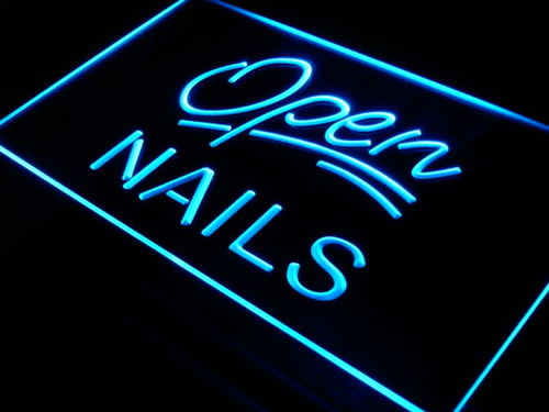 Open Nails Beauty Lounge Bar Neon Light Sign