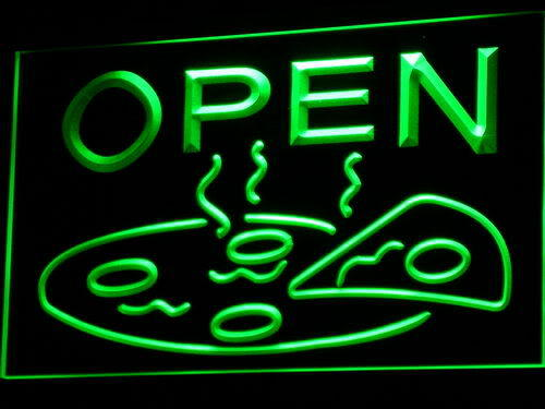 Open Pizza Cafe Neon Light Sign