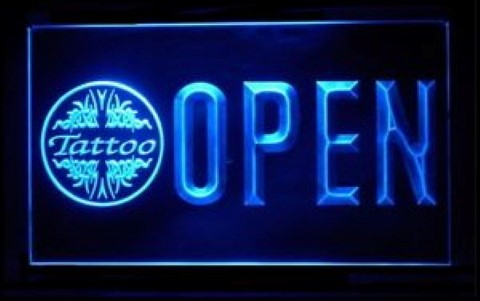 Open Tattoo Piercing LED Neon Sign