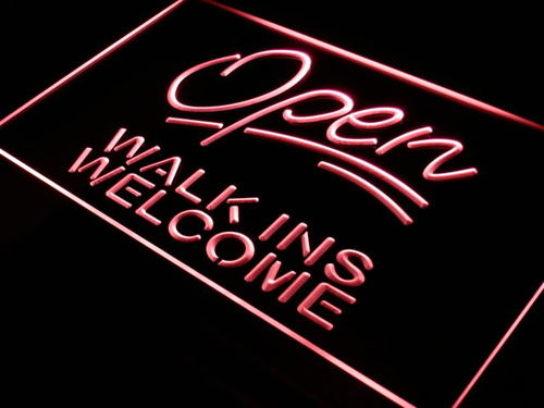 Open Walk Ins Welcome Barber Shop Light Sign