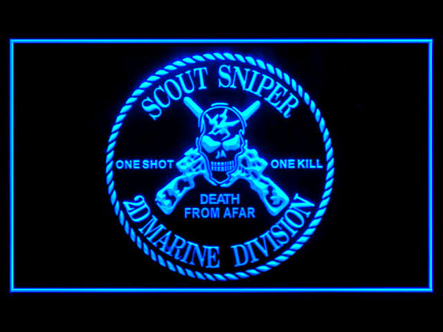 Scout Sniper Marine Divison Death From Afar Beer Neon Light Sign