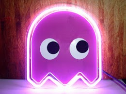 pacman purple ghost neon bar mancave sign pacman purple ghost neon
