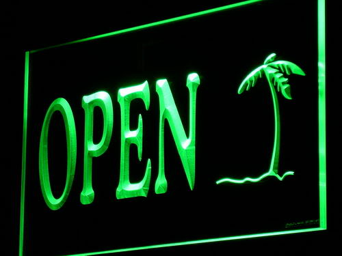 Palm Tree Open Shop Bar Pub Beer Light Sign