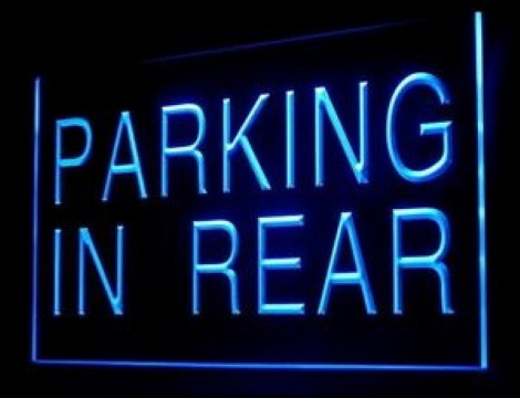 Parking In Rear Car Park LED Neon Sign