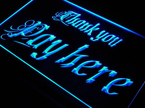 Pay Here Thank You Display Shop Neon Light Sign