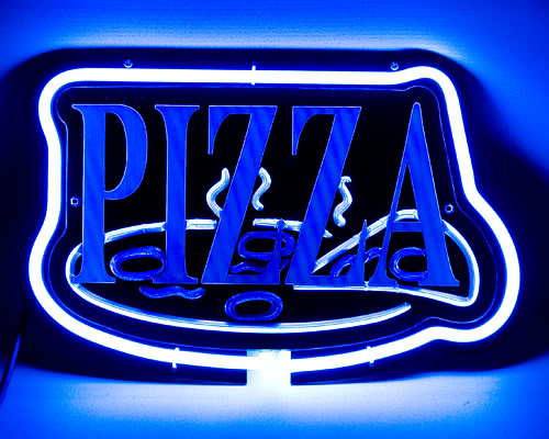 Pizza Take Away Cafe Blue Neon Bar Mancave Sign