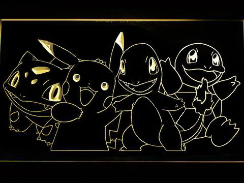 Pokemon Starters LED Neon Sign