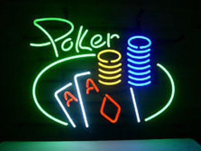 Poker Double Aces Chips Neon Sign