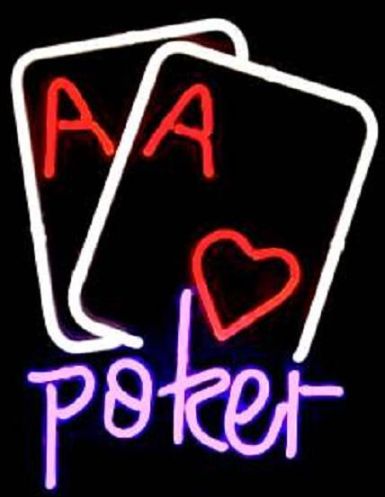 Poker Double Heart Aces Neon Sign