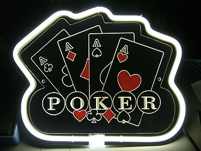 Poker Game 4 Aces Black Neon Bar Mancave Sign