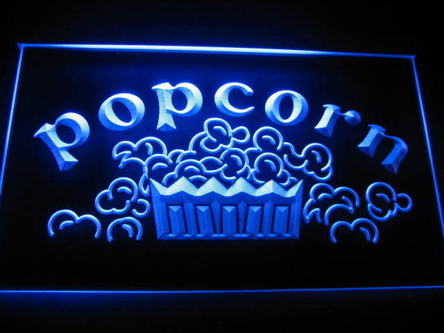 Popcorn Movies Display Neon Light Sign Blue