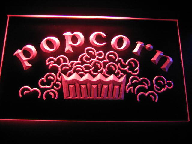 Popcorn Movies Display Neon Light Sign Red