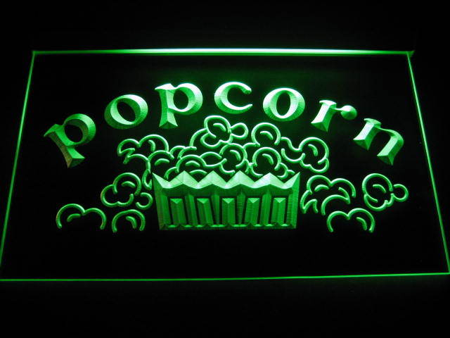 Popcorn Movies Display Neon Light Sign Green