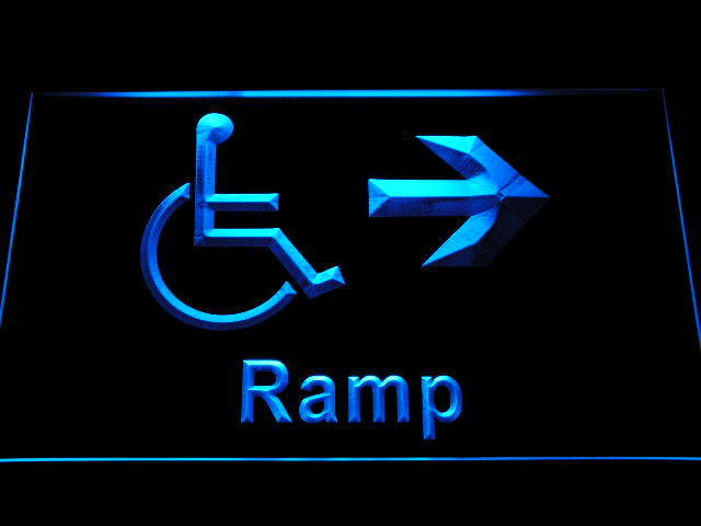 Ramp Access Disabled Handicap Wheelchair Accessible Neon Light