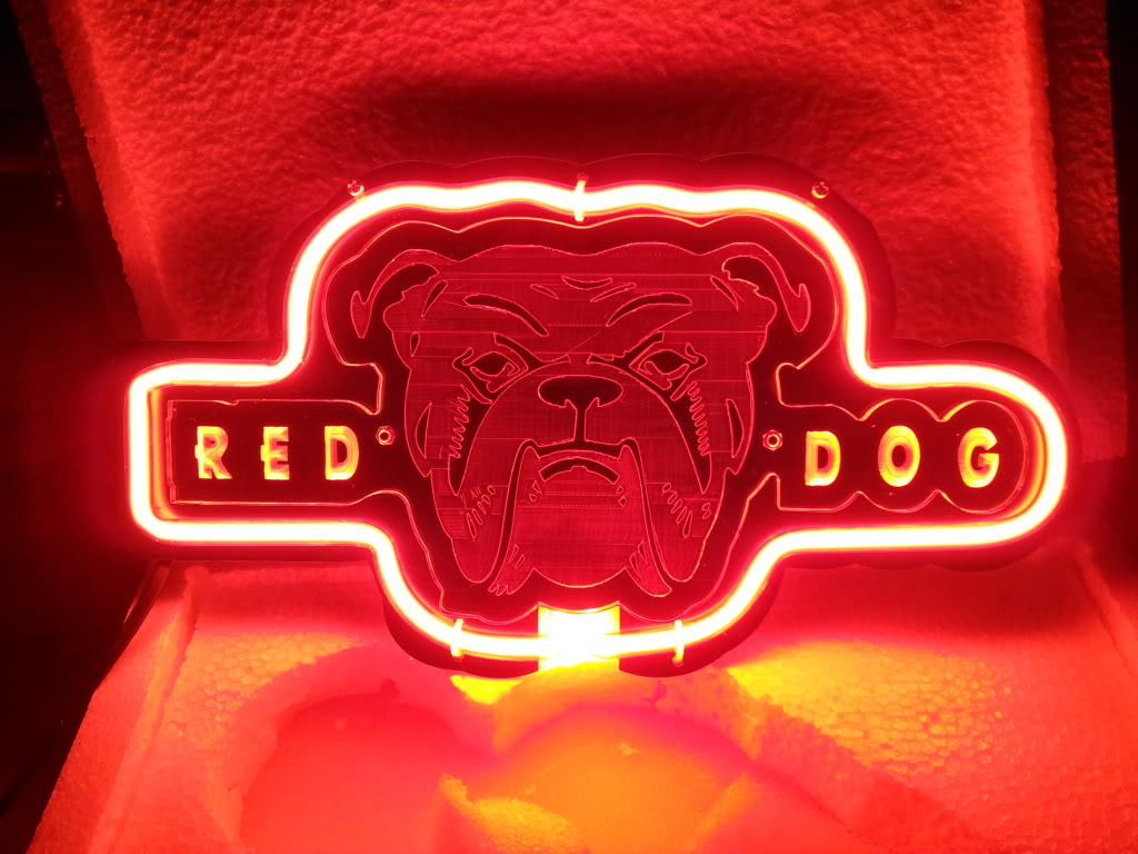 Red Dog Logo Neon Bar Mancave Sign