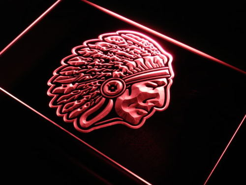 Red Indian Chief Bar Beer Neon Light Sign