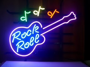 Rock Roll Guitar & Notes Classic Neon Light Sign 17 x 14