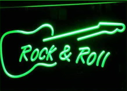 Rock and Roll Guitar Music Neon Light Sign