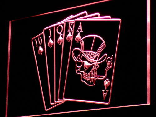 Royal Flush Casino Poker Game Gift Light Sign