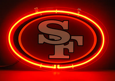 SF 49ers Oval Red Logo Neon Bar Mancave Sign