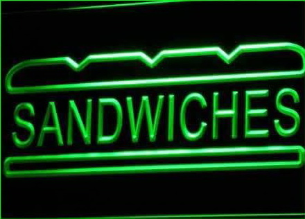 Sandwiches Cafe Shop Bar Pub Neon Light Sign