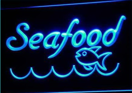 Seafood Restaurant Fish Display Neon Light Sign