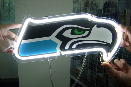 Seattle Seahawks Logo Neon Bar Mancave Sign