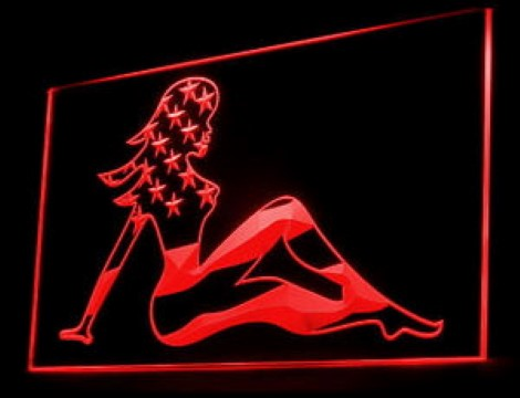 Sexy Lady Woman US Flag LED Neon Sign