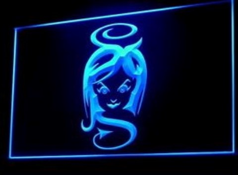 Sexy Lesbian Lady Tattoo Devil Piercing LED Neon Sign