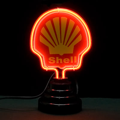 Shell Logo Red Neon Bar Mancave Sign