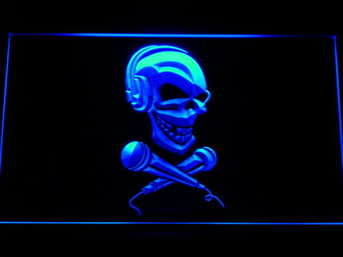 Skull Headphone Microphone Neon Light Sign