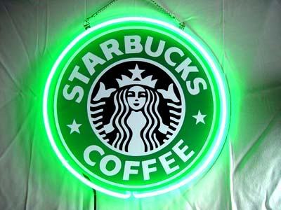 Starbucks Coffee Logo Green Neon Bar Mancave Sign