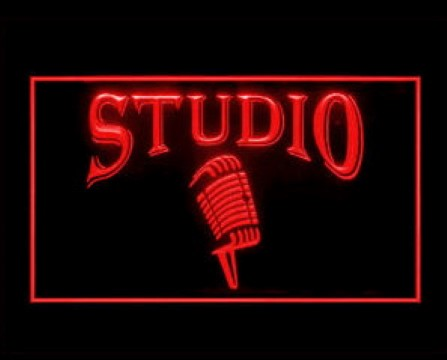 Studio Microphone Red LED Neon Sign