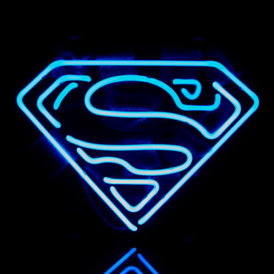 Superman Blue Logo Neon Bar Mancave Sign