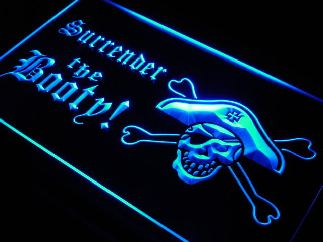 Surrender the Booty Pirate Neon Light Sign