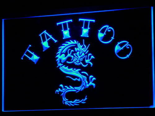 Tattoo Chinese Dragon Ink Open Neon Light Sign