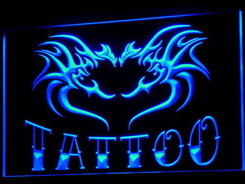 Tattoo Flying Dragon Heart Love Open Neon Sign