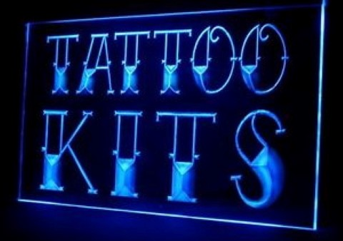 Tattoo Kits Supplies Shop Open LED Neon Sign