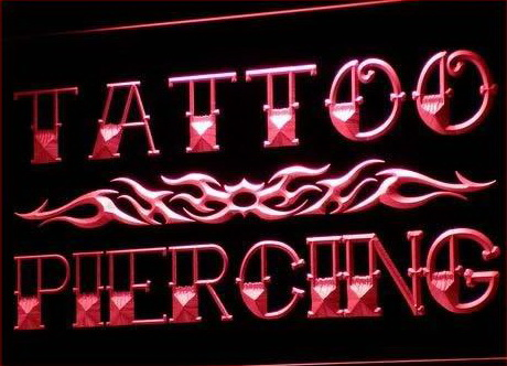 Tattoo piercing miami ink shop neon light sign tattoo for Neon tattoo signs